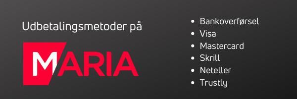 udbetalingsmetoder maria casino dk