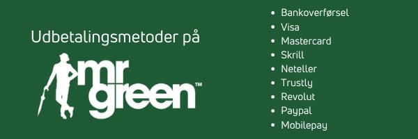 mr green udbetalingsmetoder danmark