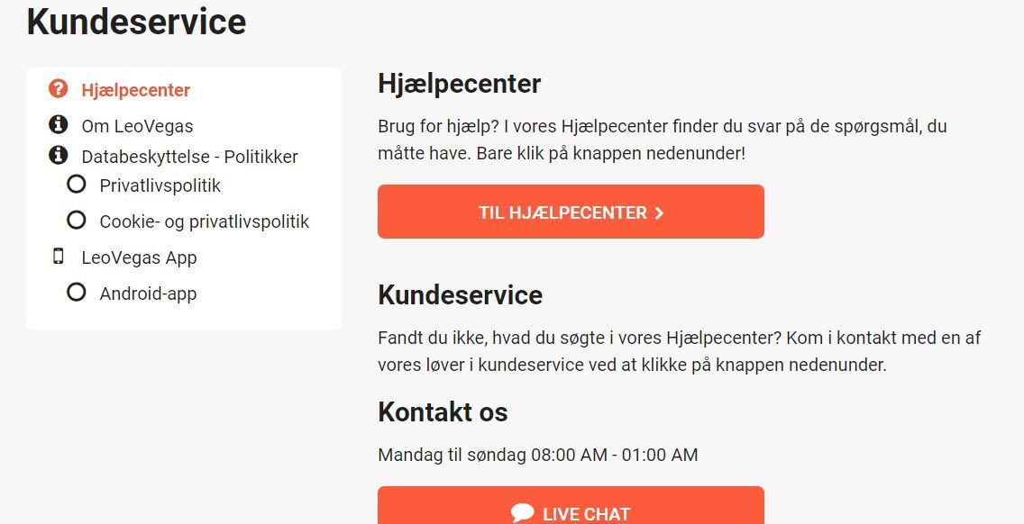 Kontakt LeoVegas kundeservice